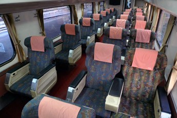 First class seats on a Malaysian KTM train from Penang to Kuala Lumpur to Singapore