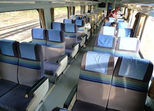 Second class seats on a Malaysian train from Penang to Kuala lumpur & Singapore
