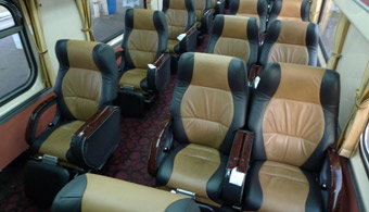 First class car refurbished with leather seats on train 1 from Penang to Kuala Lumpur and Singapore train
