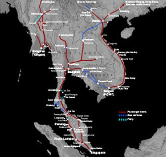 Train route map for Singapore, Malaysia & S E Asia - click to enlarge