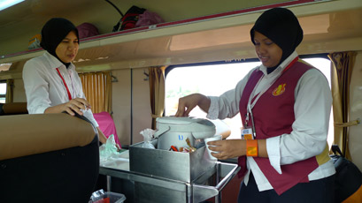 Trolley refreshments on a Malaysian train from Penang to Kuala lumpur & Singapore