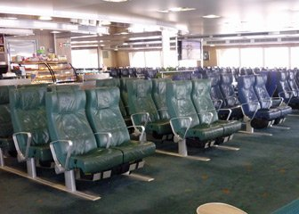 Standard seating on the ferry to Malta