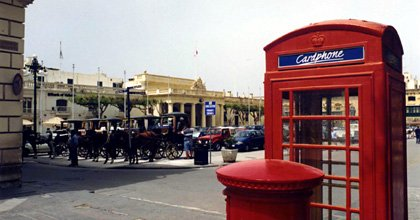 Malta:  Phone box on Palace Square, Valetta.