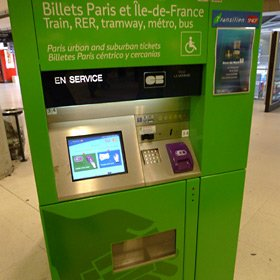 Machine selling Paris metro tickets at the Gare du Nord metro station