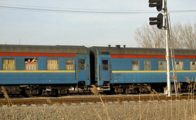 The 'Pretenia' train from Bucharest to Chisinau