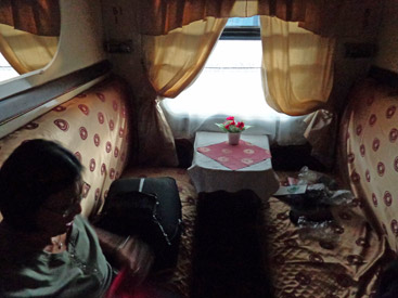 A 2-berth 1st class sleeper on the train to Chisinau (Kishinev)