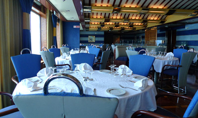 A la carte restaurant on Grimaldi Lines ferry from Barcelona to Tangier