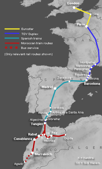 train ferry route map london to marrakech