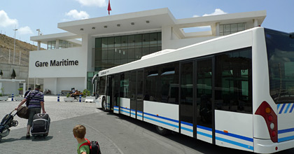 Shuttle bus from the ferry arrives at Tangier Med Port terminal building