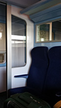 2nd class seating compartment on the train from  Tangier Med Port to Tangier Ville