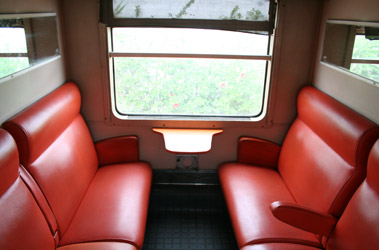 Second class seats on an express train in Morocco...