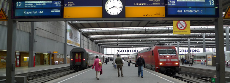 The platforms at Munich Hauptbahnhof