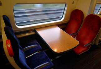 Bay of 4 seats on a Virgin Trains pendolino from London to Liverpool