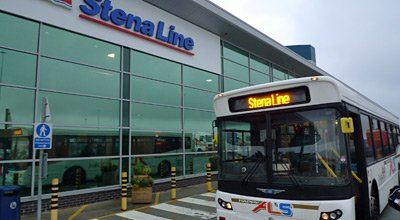 Stena Line transfer bus at the ferry terminal in Birkenhead