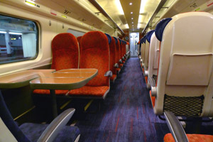 Inside a 'pendolino' train to London.