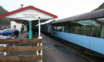 The TranzAlpine train arrives at Greymouth...