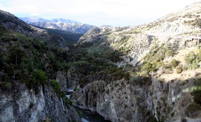 The river gorge from the TranzAlpine train as it climbs into the Southern Alps