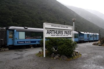 The Tranz Alpine at Arthurs Pass in the heart of the Southern Alps...