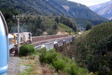 The Tranz-Alpine crossing a major viaduct on the Christchurch-Greymouth line...