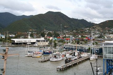 The ferry terminal at Picton, seen from the deck of an arriving ferry from Wellington