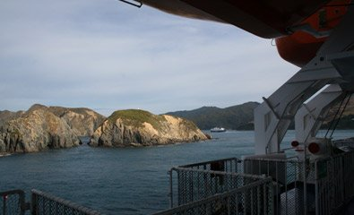 "Interislander ferry ""Kaitaki"" enters the Tory Channel between Wellington and Picton"