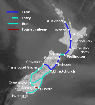New Zealand Interactive Map.A Guide To Train Travel In New Zealand Train Routes Tranz Scenic
