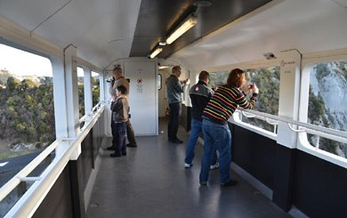 Inside the viewing car as used on the TranzAlpine train