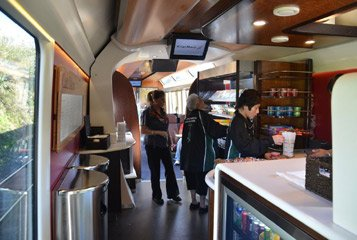 Cafe car on the Northern Explorer train from Auckland to Wellington