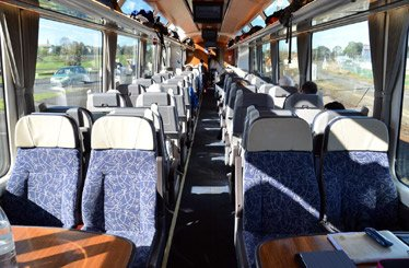 Seats in the new 'AK' carriages, as on the Christchurch to Greymouth TranzAlpine train