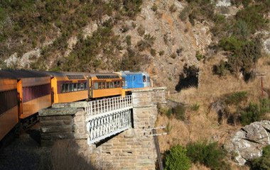 Taking the Taieri Gorge Railway en route from Dunedin to Queenstown...