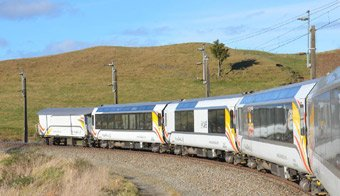 The new Northern Explorer train from Auckland to Wellington