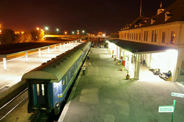 Windhoek railway station at night, with the Starline train to Keetmanshoop about to depart