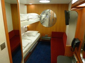 Standard inside cabin on the ferry