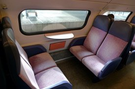 Seats on top deck of double decker Dutch train