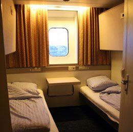 A standard cabin on DFDS Seaways Newcastle-Amsterdam ferry.