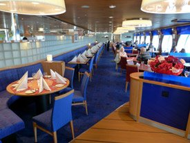 Ala carte restaurant on board the Stena Line ferry to Holland