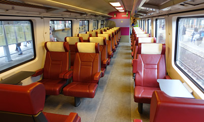 1st class seats on an Amsterdam to Brussels InterCity train