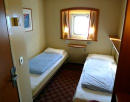 A standard en suite cabin on P&O Ferries' Hull-Rotterdam ferry