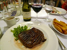 A steak dinner in the a la carte restaurant on board P&O Ferries Hull-Rotterdam ferry