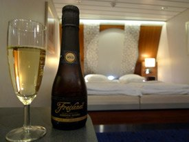 A glass of fizzy in a Captain's Class cabin on the ferry to Holland