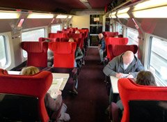First class seats on a high-speed Thalys train.