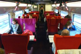 Second class seats on board a 'Thalys' high-speed train to Cologne
