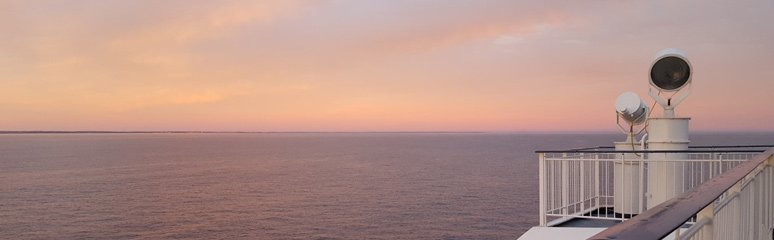 Sunset at sea on the DFDS ferry from Copenhagen to Oslo