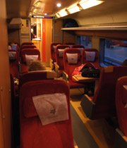 Komfort class (1st class) on the Norwegian Gothenburg to Oslo train