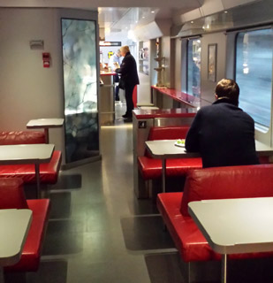 Cafe car on the train to Bergen