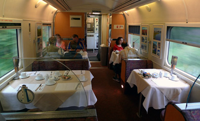 Restaurant car on the Montreal-Halifax train