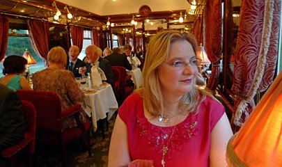 Dinner in the diner on the Orient Express