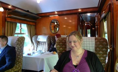 Lunch in Pullman car Phoenix on the Venice Simplon Orient Express.