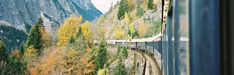The Venice Simplon Orient Express train in the Arlberg Pass
