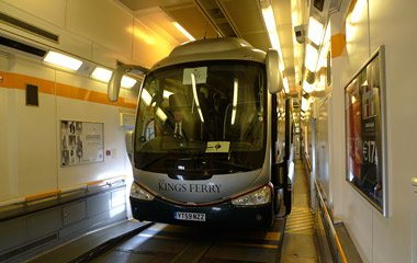 The Folkestone to Calais road coach on board the Eurotunnel shuttle train inside the Channel Tunnel